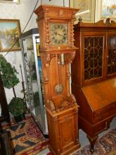 37) Unique antique carved tall case grandfather style clock, with cherubs and floral design, untested, one weight needs restored. Special shipping required