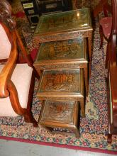 Nice 4 piece Asian carved nesting tables, various sizes, with sailing boat scene. Special shipping required