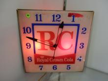 Vintage lighted RC Royal Crown Cola soda fountain advertising clock, works, minor paint loss by No, 1
