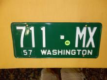 Vintage WA auto license plate 1957