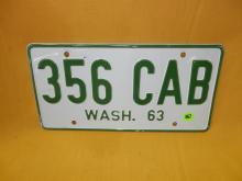 Vintage WA auto license plate 1963
