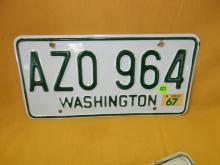 Vintage WA auto license plate 1967