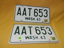 Vintage pair of WA auto license plate 1963