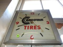 Vintage service station advertising wall clock for Cordovan tires, works