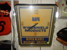 Vintage advertising clock for NAPA windshield products, works, small crak left corner