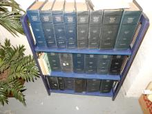 26) group of vintage radio manuals on bookcase, special shipping required