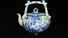 nice antique Asian blue & white porcelain tea pot with bamboo style handle, cond VG 6