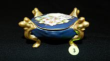 antique painted porcelain deep blue and floral Limoges ring box, footed, cond VG , 3