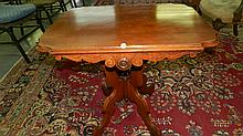 Victorian Walnut carved parlor table, cond VG , SSR