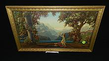 original, vintage framed Maxfield Parrish? / Fox? litho, titled Dawn, cond Vg 11 1/2 x 19 1/2,