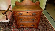 Antique walnut commode with carved handles and back splash SSR = special shipping req