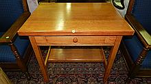 antique American oak Arts & Crafts library desk with single drawer (built in ink well / pen tray, SSR cond Vg