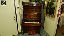 amazing Antique Eastlake spooned carved pump organ with fancy back balcony, works, SSR