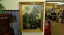 Fancy antique oil painting on canvas of cows in stream, with tree canopy overhead, unsigned, in period carved shadow box frame, with 2 partial labels on back. COND VG, Frame measures 47 x 35 1/4, Painting measures 40 x 28