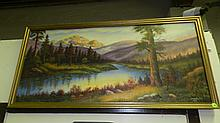 vintage oil painting on canvas of lake and mountain scene signed LR, frame is 19 x 40