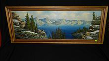 beautiful oil painting on board of Crater Lake in original frame, signed Newman, frame is 16 x 41 art is 12 1/2 x 37 1/2