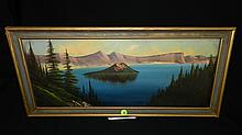 beautiful oil painting on board of Crater Lake in original frame, Newman?, frame is 11 1/2 x 24 art is 8 3/4 x 21 1/2