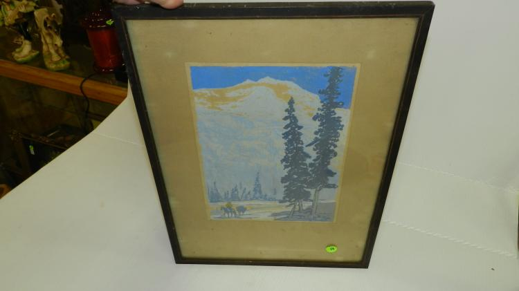 nice framed block print by Waldo S. Chase (1895 - 1988)