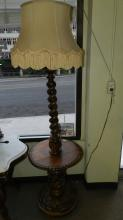 2) Unique Antique Carved German floor / table lamp with barley twist and leaf design, special shipping required