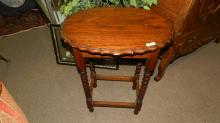 174) Antique oak barley twist lamp table, special shipping required