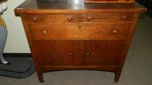 13) Original American oak Arts & Crafts Mission sideboard, special shipping required