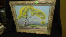 Nice oil painting on board of CAL landscape trees and valley, by B. Wilson, carved framed