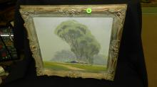 Nice oil painting on board of CAL landscape trees and barn, by B. Wilson, carved framed