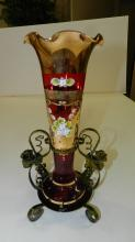 2) Lovely hand painted bohemian vase with floral design, in unique metal frame, cond G-VG, minor paint loss
