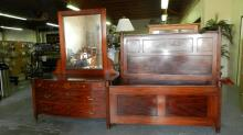 24) Wonderful! 2 piece matching, American flamed mahogany, floral, inlaid bedroom set, with bow front dresser w/mirror, high back raised panel bed w/rails. Special shipping required