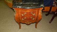 Unique French style commode with bronze handware and marble top, inlay design, special shipping required