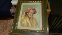 Vintage framed oil painting of old Italian woman