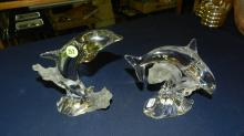 2) 2 Piece Lenox crystal dolphin statues