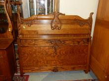 Antique American oak bed with rails, refinished, cond VG special shipping required