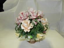 Large porcelain painted Capodimonte flower basket display, cond VG