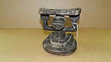 5263) African Caryatid head rest w/sitting female figure (Luba). From DR Congo.6 1/4 x 6