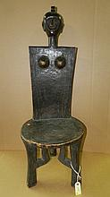 1477) East African carved high backed chair. From Tanzania. 43 x 16 x 15