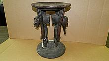 3321) African carved Luba figural stool, with 2 figures male/female supporting the seat. From DR Congo. 16 x 12