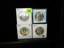 4 piece U.S. Franklin Half Dollars, 1952, 1961-D, 1952-D, 1961
