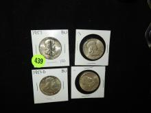 4 piece U.S. Franklin Half Dollars, 1957, 1953-S, 1957-D, 1952-S
