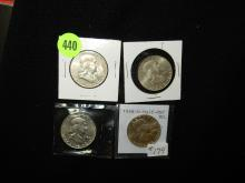 4 piece U.S. Franklin Half Dollars, 1958-D,