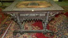 Stunning! 19th Century Anglo-Indian heavily carved desk, with drawer, serpent supported corners, figural pulls, COND G-VG, minor loss on edge due to age. Special Shipping required