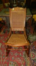 1) Antique carved cane rocker, special shipping required