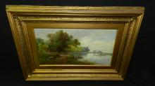 lovely antique oil painting on canvas, depicting family on lake, signed E. Taylor, cond VG crazing