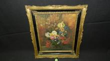 vintage oil painting on board by A. Kosa, still life flowers in vase, period frame