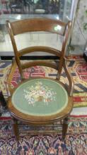 16) antique needle work parlor chair, special shipping required