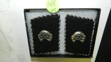 2 piece WWII Natzi German SS death head metal shoulder patch, on stitched board