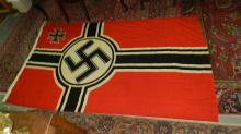 Large, original WWII Natzi German flag, with swastika. COND G, with minor moth holes, seal stamp mark