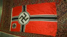 Rare silk? Original WWII Natzi German flag, with swastika and iron cross, seal stamp mark. COND G, has some staining