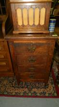 Antique, 4 drawer, oak, cylinder phonograph stand. Special shipping required
