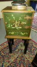 Green and gold painted vintage smoking stand. Special shipping required
